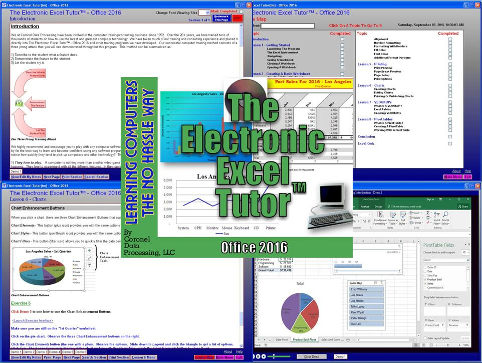 The Electronic Excel Tutor Office 2016 Screen shot