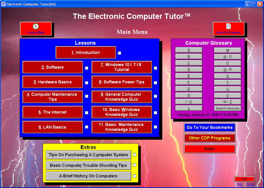 Electronic Computer Tutor Screen shot