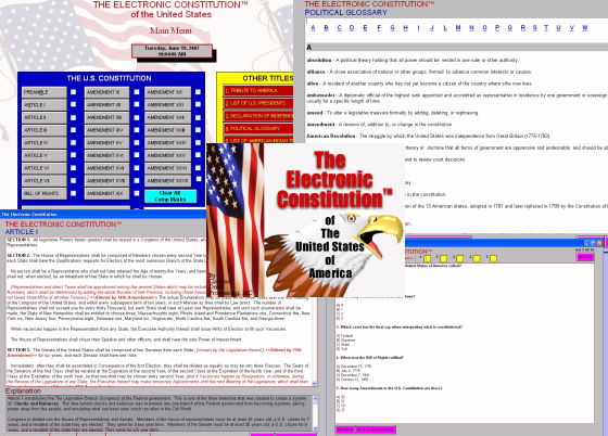 An interactive program that teaches about the U.S. Constitution